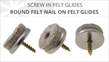 BROWN FELT FURNITURE SCREW IN GLIDES